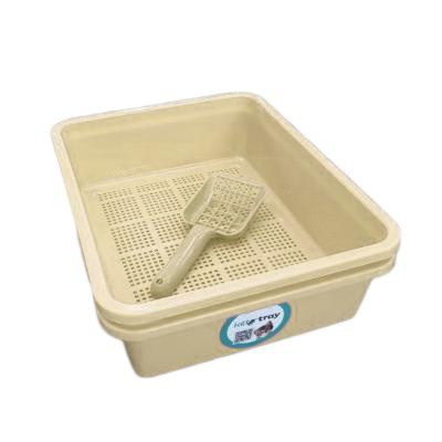 Kitter Cat Litter Beige Double Tray Set And Scoop For Wood Pellets