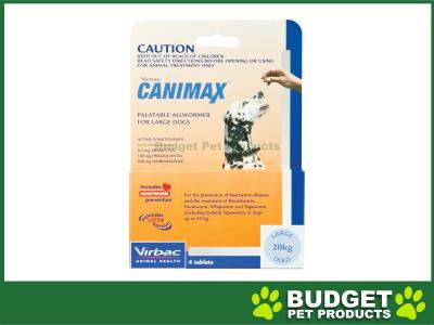 Canimax All Wormer For Large Dogs 20kg 4 Tabs