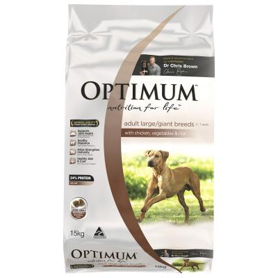 Optimum Chicken, Vegetables And Rice Large Breed Adult Dry Dog Food 15kg