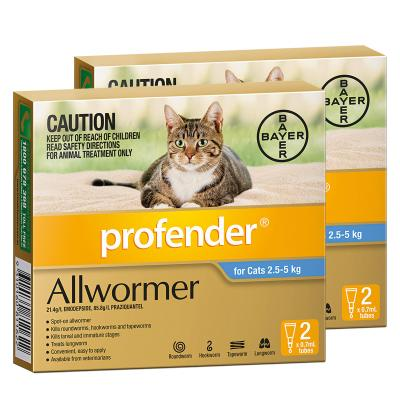 *** Combo Pack ***Profender For Cats All Wormer Blue 2.5-5kg x 2