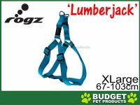 Rogz Utility Lumberjack Reflective Step-In Harness Turquoise For XLarge Dogs 67-103cm x 25mm