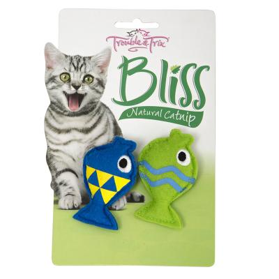 Trouble & Trix Bliss Crinkle Fish Toy With Catnip For Cats 2 Pack