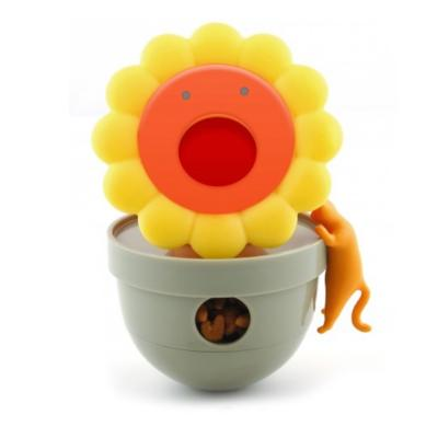 CA Tumbler Sunflower Yellow Treat Dispensing Toy For Cats
