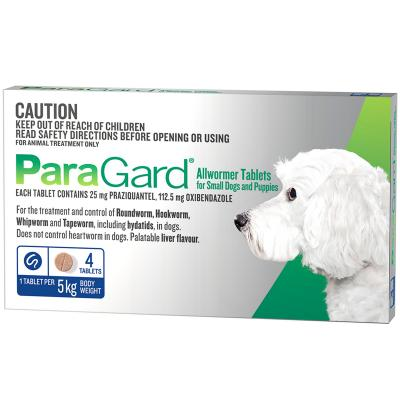Paragard Allwormer For Dogs 5kg 4 tablets