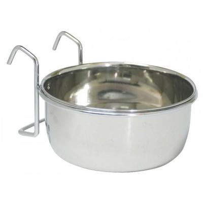 Zeez Stainless Steel Coop Cup With Holder Bowl Feeder For Birds And Small Animals 20oz (591ml)