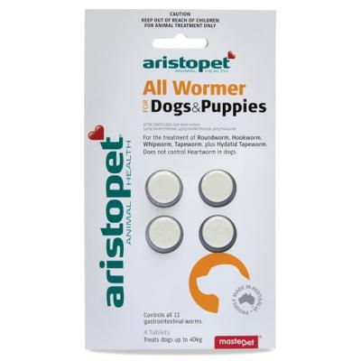 Aristopet AllWormer For Dogs and Puppies 10kg Tablet 4 Pack