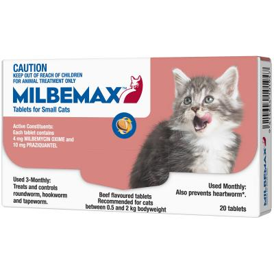 Milbemax Allwormer For Cats 0.5 - 2kg 20 Tablets