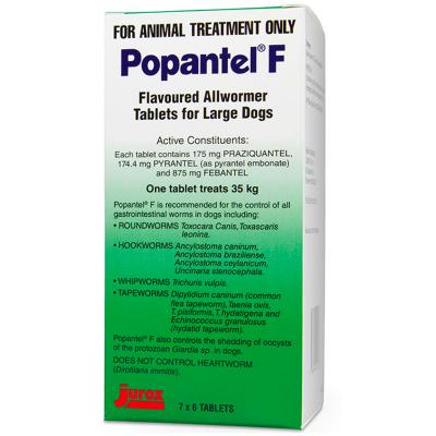 Popantel F Flavoured Allwormer Tablets for Dogs 35 kg 42 Tablets