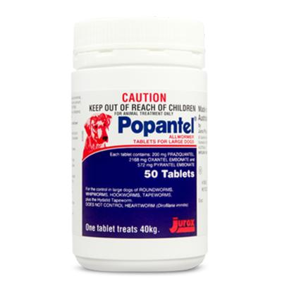 Popantel Allwormer Tablets For Large Dogs 40kg 50 Tablet