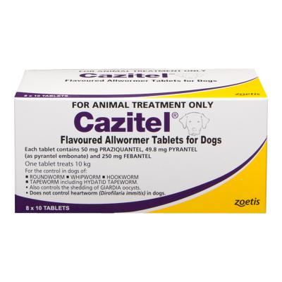 Cazitel Allwormer For Dogs 10kg 80 tab