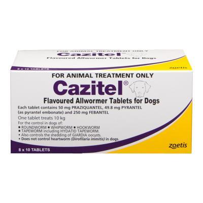 Cazitel Allwormer For Dogs 10kg 80 tab