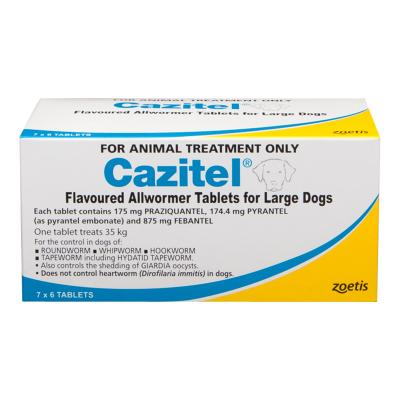 Cazitel Allwormer For Dogs 35kg 42 Tablets