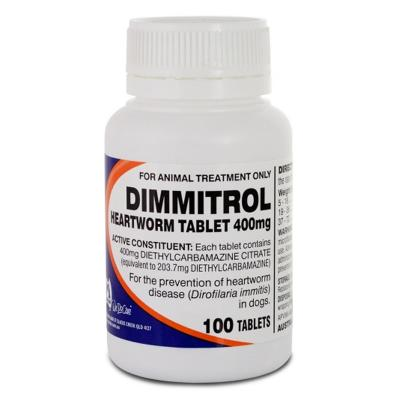 Dimmitrol Daily Heartworm Tablets For Dogs 400mg x 100 Tablets