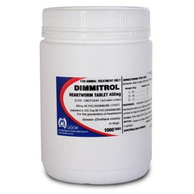 Dimmitrol Daily Heartworm Tablets For Dogs 400mg x 1000 Tablets