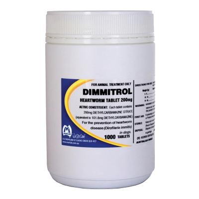 Dimmitrol Daily Heartworm Tablets For Dogs 200mg x 1000 Tablets
