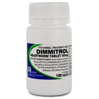 Dimmitrol Daily Heartworm Tablets For Dogs 50mg 100 Tablets