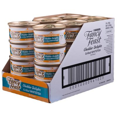 Fancy Feast Cheddar Delights Grilled Whitefish in Gravy Canned Wet Cat Food 85g x 24