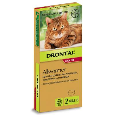 Drontal Allwormer For Cats New Easy Dose Shape 6kg 2 Tablets
