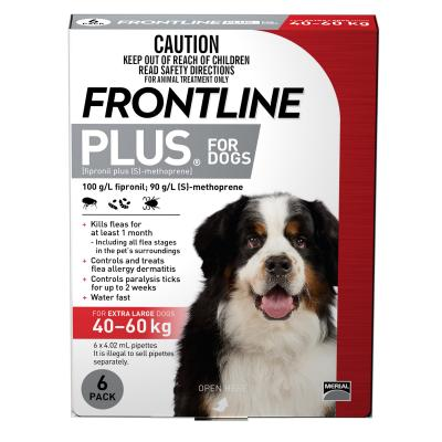 Frontline Plus For Dogs Extra Large 40-60kg 6 Pack
