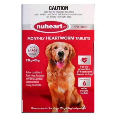 Nuheart For Large Dog 23-45kg Red 6 Tablets