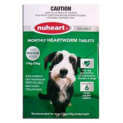 Nuheart For Medium Dog 11-23 kg Green 6 Tablets