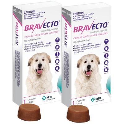 Bravecto for Very Large Dogs 40-56kg 1 Chew  X 2