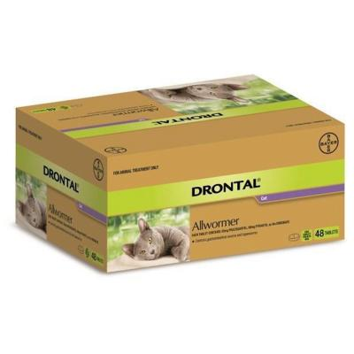 Drontal Allwormer For Cats New Easy Dose Shape 4kg 48 Tablets