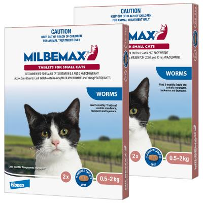 *** Combo *** Milbemax Allwormer For Cats 0.5 - 2kg 2 Tablets x 2