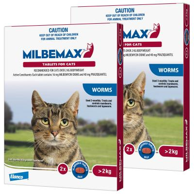 *** Combo *** Milbemax Allwormer For Cats Over 2kg 2 Tablets x 2