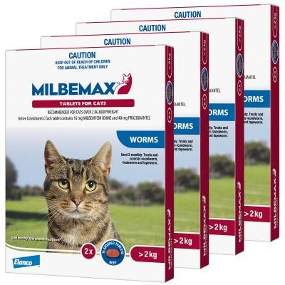 *** Combo *** Milbemax Allwormer For Cats Over 2kg 2 Tablets x 4