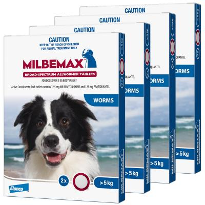 *** Combo *** Milbemax Allwormer For Dogs Over 5kg 2 Tablets X 4