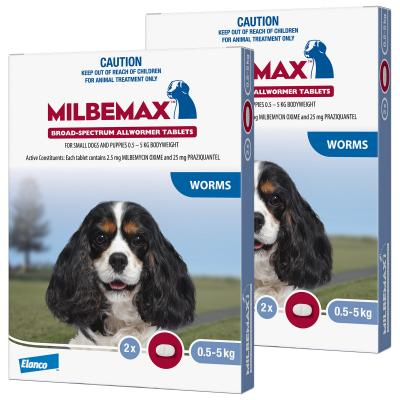 *** Combo *** Milbemax Allwormer For Small Dogs 0.5 - 5kg 2 Tablets X 2
