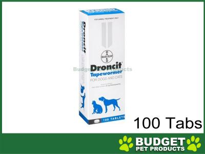 Droncit Tapewormer For Dogs and Cats 100 Tablets