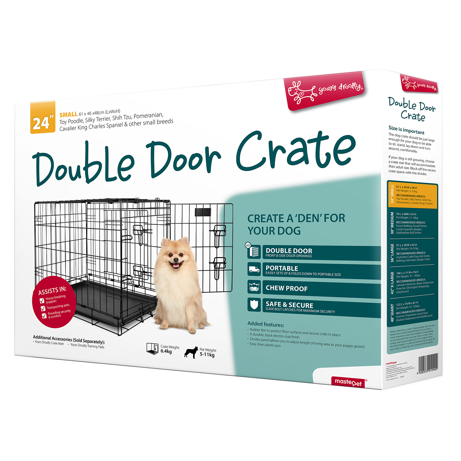 Yours Droolly Dog Crate Double Door 24inch - $59.40