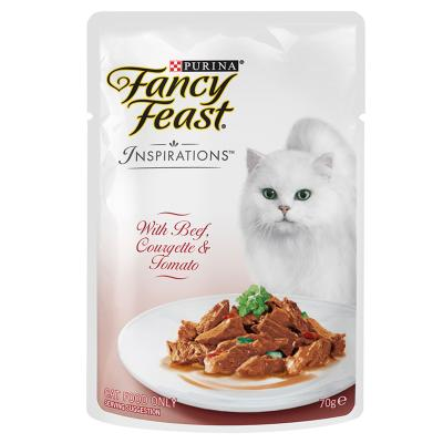 Fancy Feast Inspirations Beef, Courgette And Tomato Pouches Wet Cat Food 70g x 24