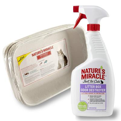 Natures Miracle Litter Pack - 3 Disposable Litter Trays With Just For Cats Litter Box Odour Destroyer Spray 709ml
