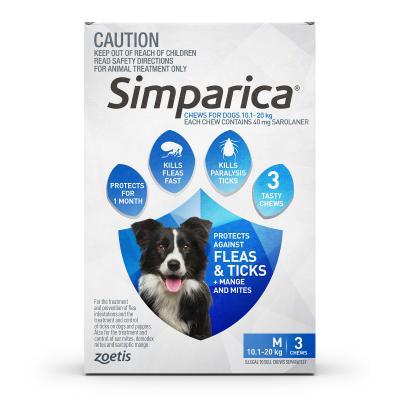 Simparica For Dogs 10.1- 20kg Blue Medium 3 Chews