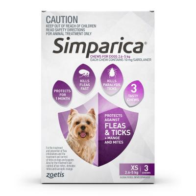 Simparica For Dogs 2.6 - 5kg Purple XSmall 3 Chews