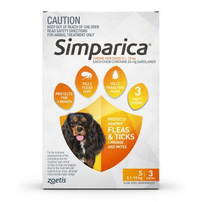 Simparica For Dogs 5.1-10kg Orange Small 3 Chews