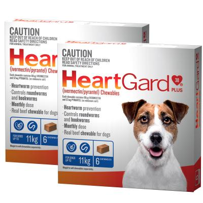 *** 12 Pack *** Heartgard Plus For Small Dogs Up To 11kg Blue 12 Chewables
