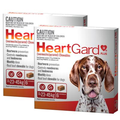 *** 12 Pack *** Heartgard Plus For Large Dogs 23-45kg Brown 12 Chewables