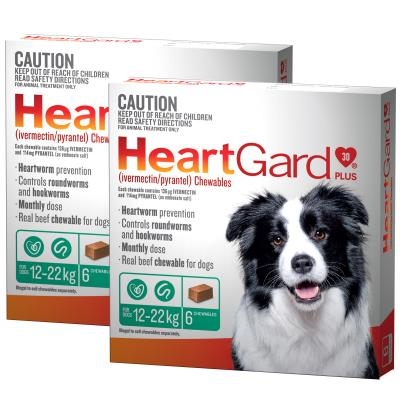 *** 12 Pack *** Heartgard Plus For Medium Dogs 12-22kg Green 12 Chewables