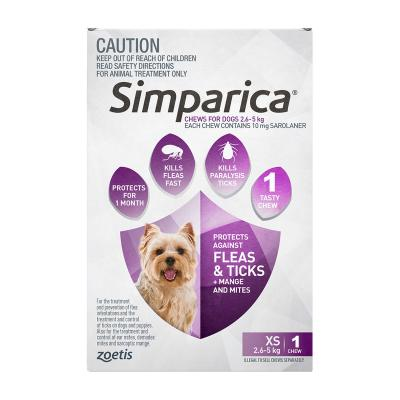 Simparica For Dogs 2.6 - 5kg Purple XSmall 1 Chew