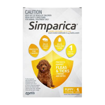 Simparica For Dogs 1.3 - 2.5kg Yellow Puppy 1 Chew