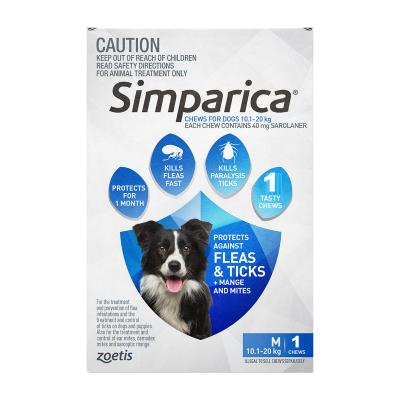Simparica For Dogs 10.1- 20kg Blue Medium 1 Chew