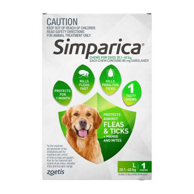Simparica For Dogs 20.1- 40kg Green Large 1 Chew
