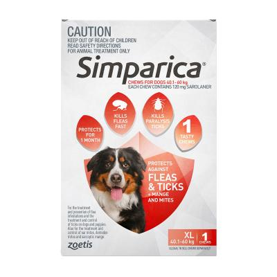 Simparica For Dogs 40.1- 60kg Red XLarge 1 Chew