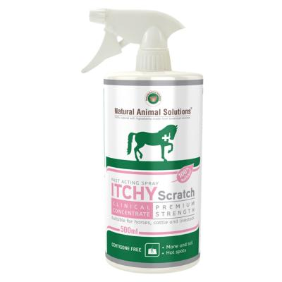 Natural Animal Solutions Itchy Scratch Premium Strength Skin Spray For Horses Cattle And Livestock 500ml