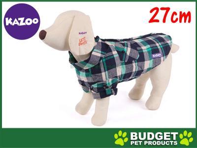 Kazoo Flano Shirt Dog Coat Green XXSmall 27cm