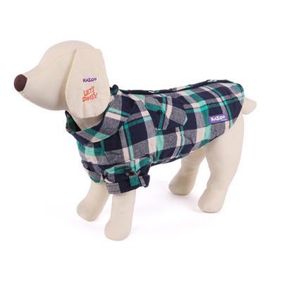Kazoo Flano Shirt Dog Coat Green Intermediate 53cm
